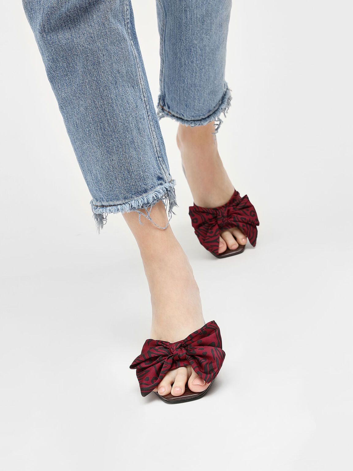 Oversized Knotted Bow Mules, Red, hi-res