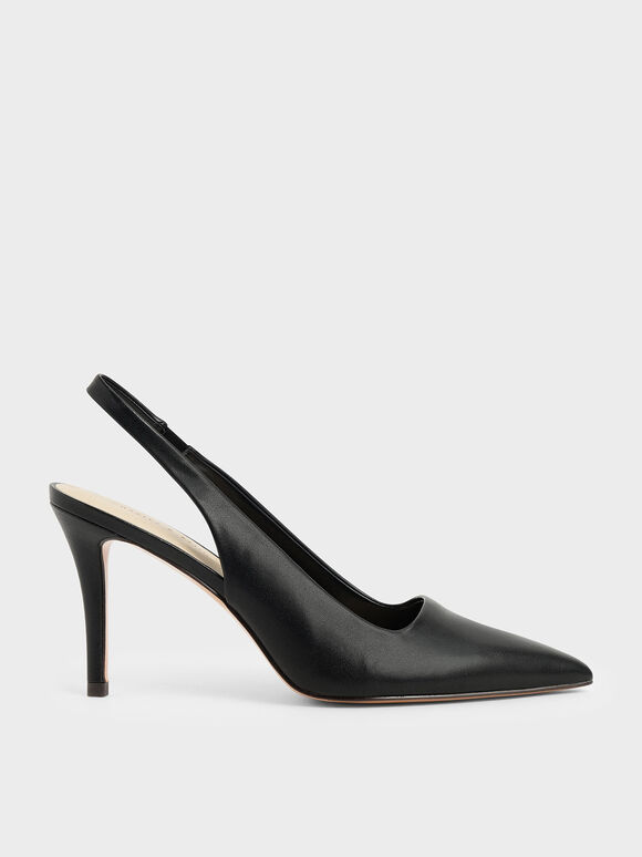 Slingback Pointed Pumps, Black, hi-res