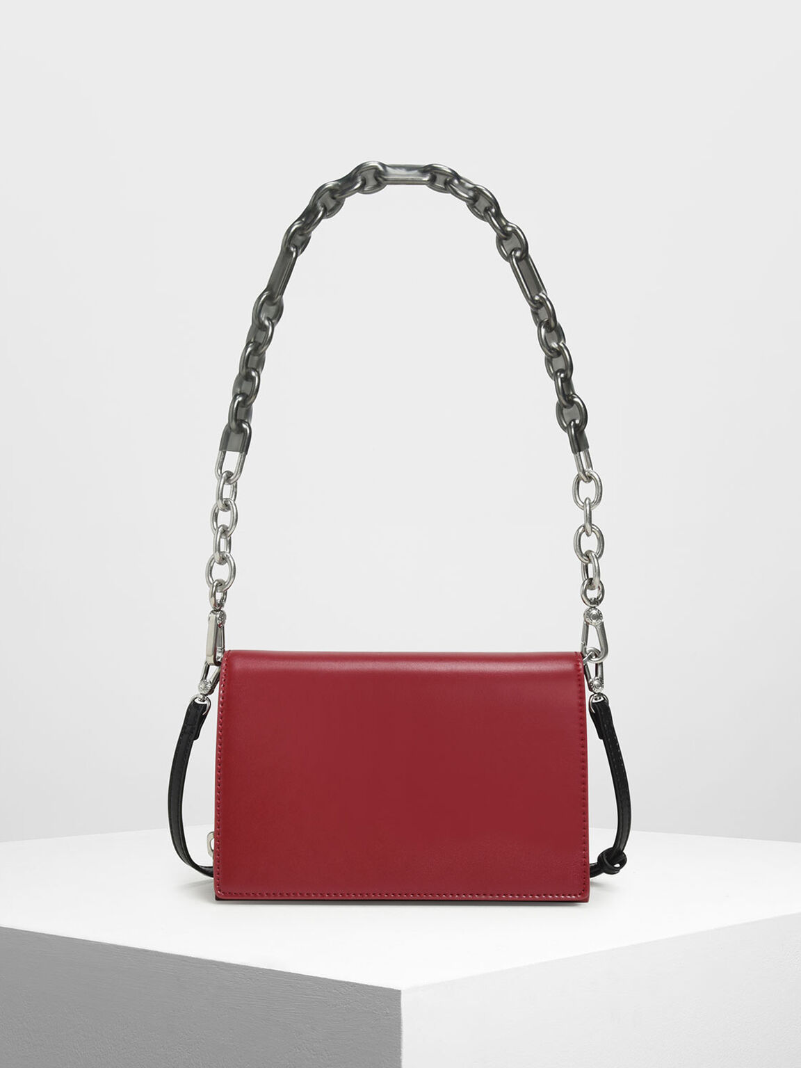 Chain Strap Crossbody Bag, Red, hi-res