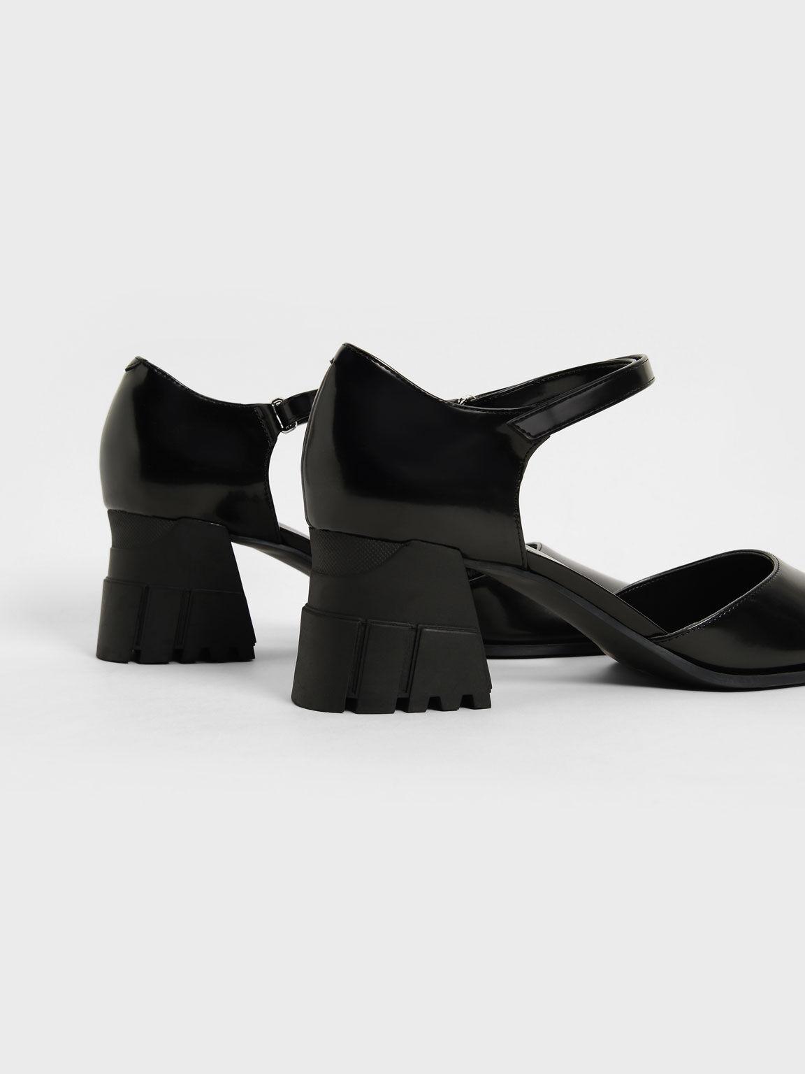 Square Toe D'Orsay Pumps, Black, hi-res