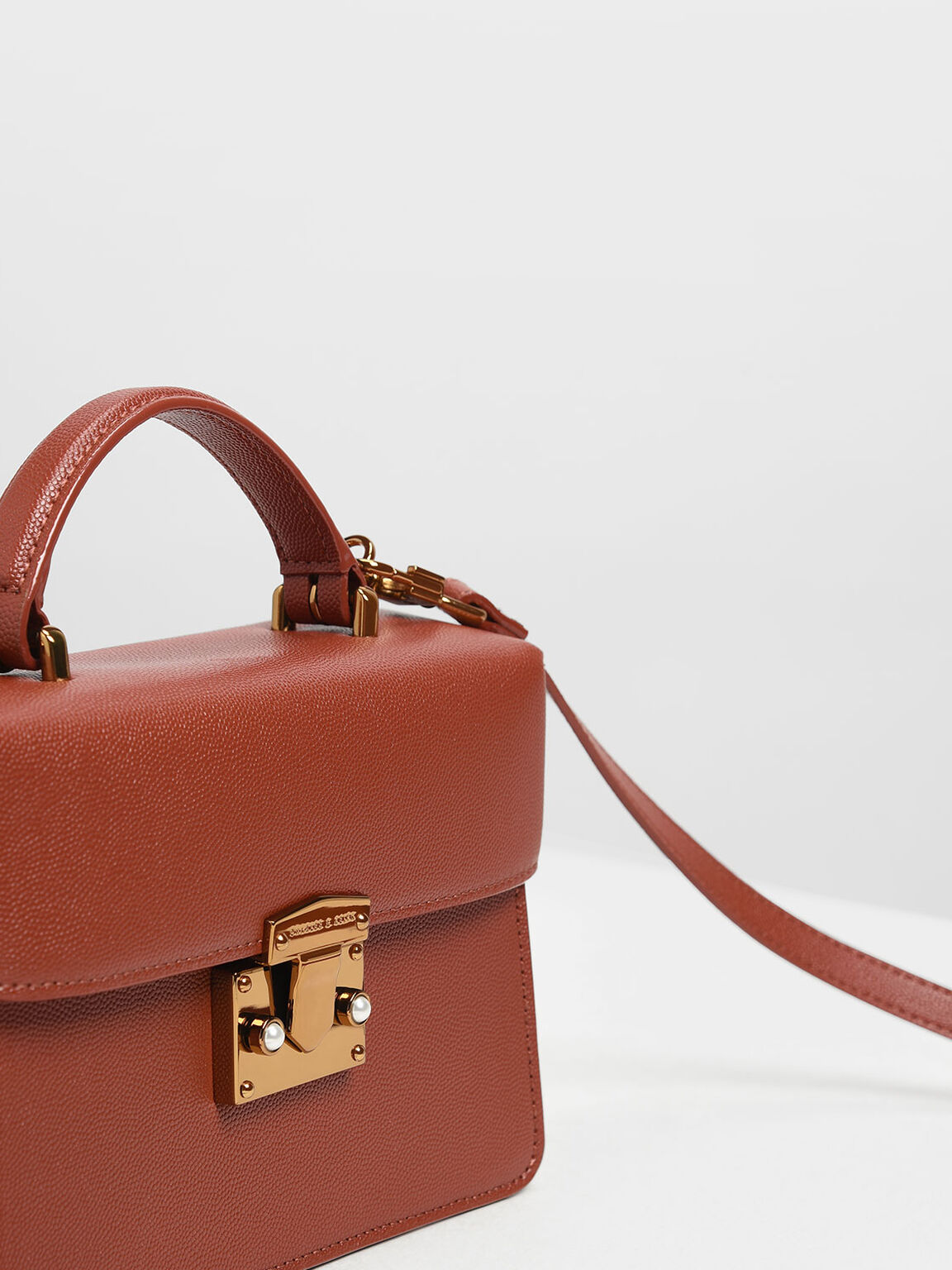 Classic Push Lock Top Handle Bag, Clay, hi-res