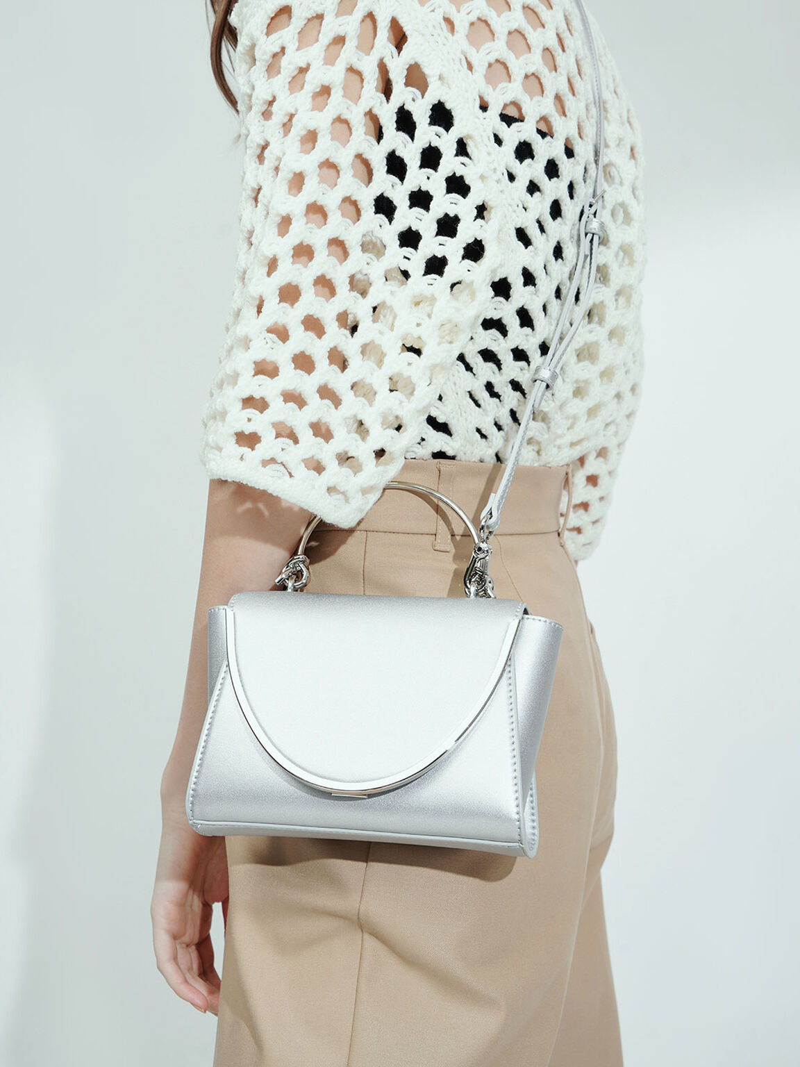 Metallic-Trimmed Front Flap Bag, Silver, hi-res