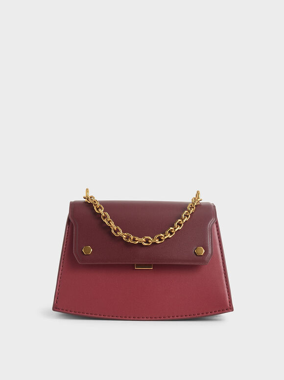 Two-Tone Chain Handle Crossbody Bag, Rose, hi-res