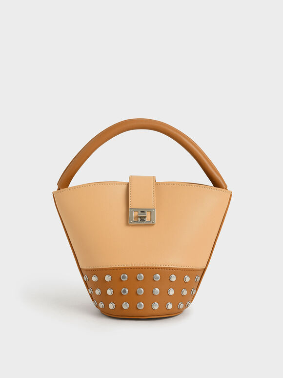 Studded Bucket Bag, Nude, hi-res