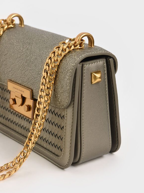 Woven Push-Lock Crossbody Bag, Bronze, hi-res
