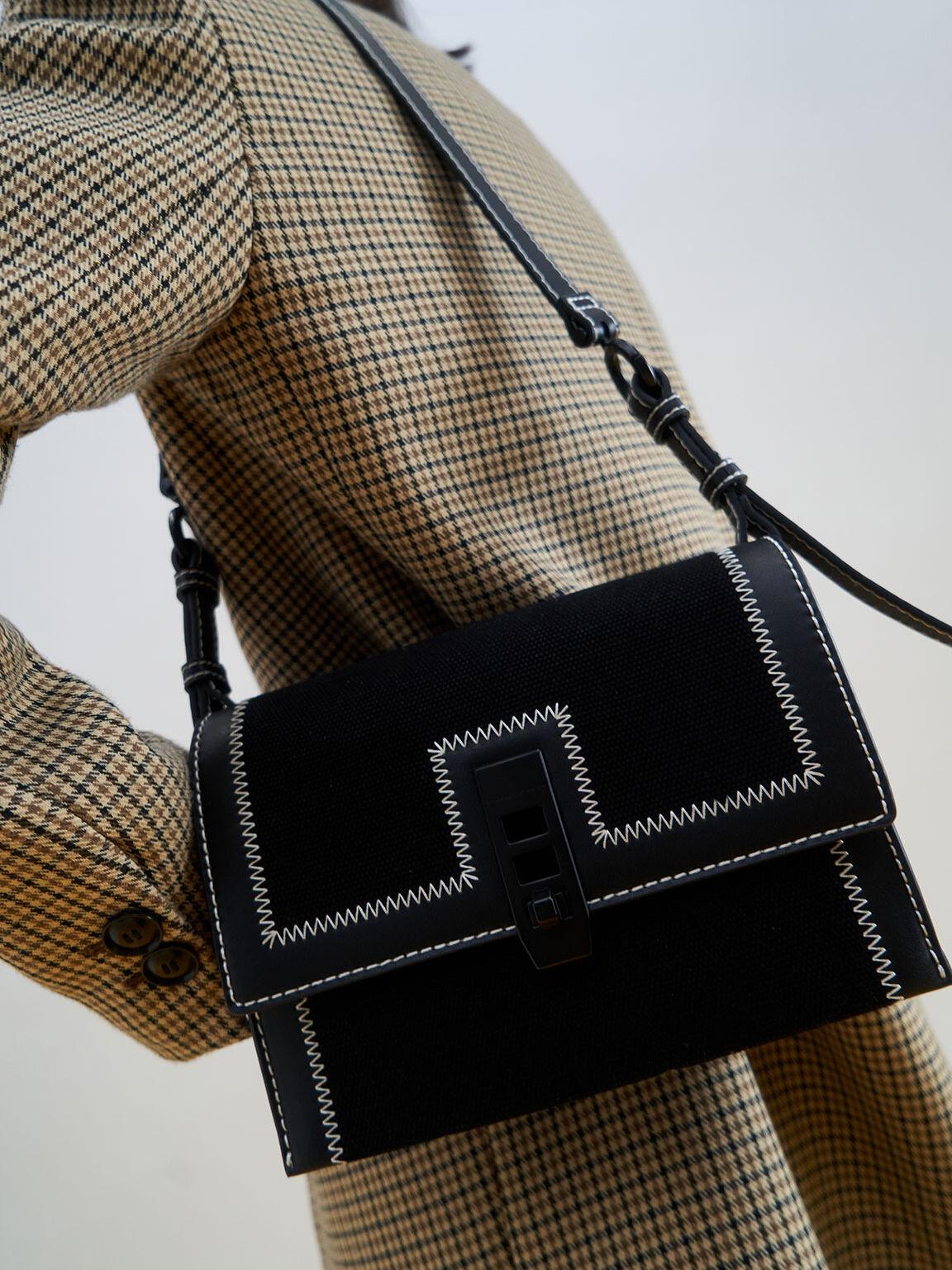 Canvas Turn-Lock Chain Handle Bag, Black, hi-res