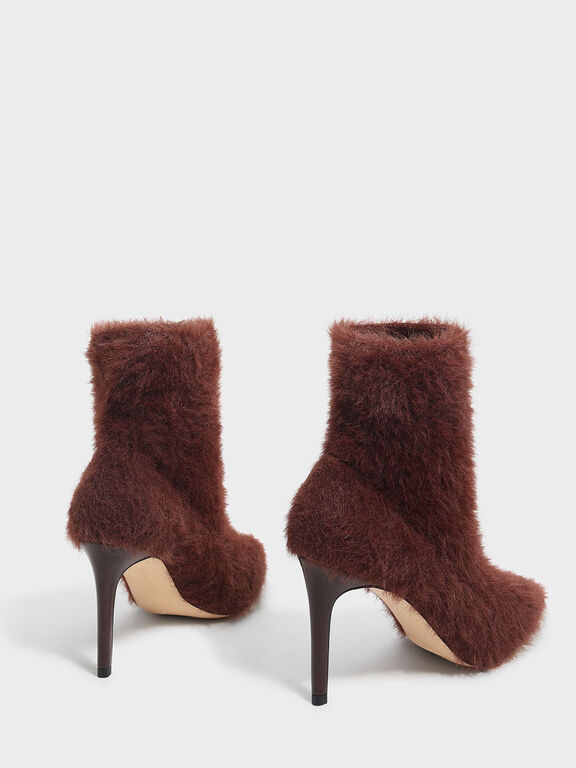 Furry Pointed Boots, Brown
