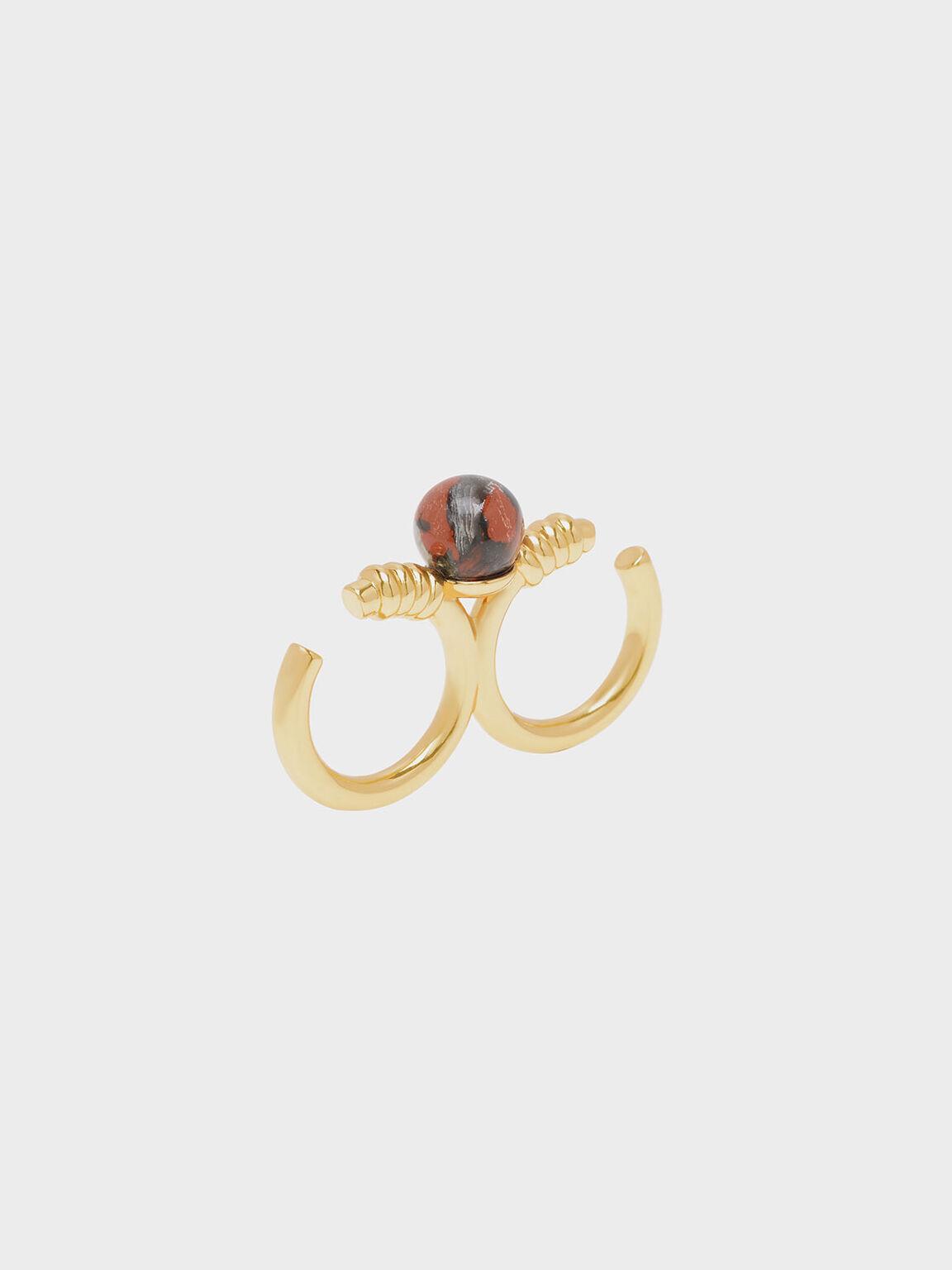 Jasper Stone Double Ring, Gold, hi-res