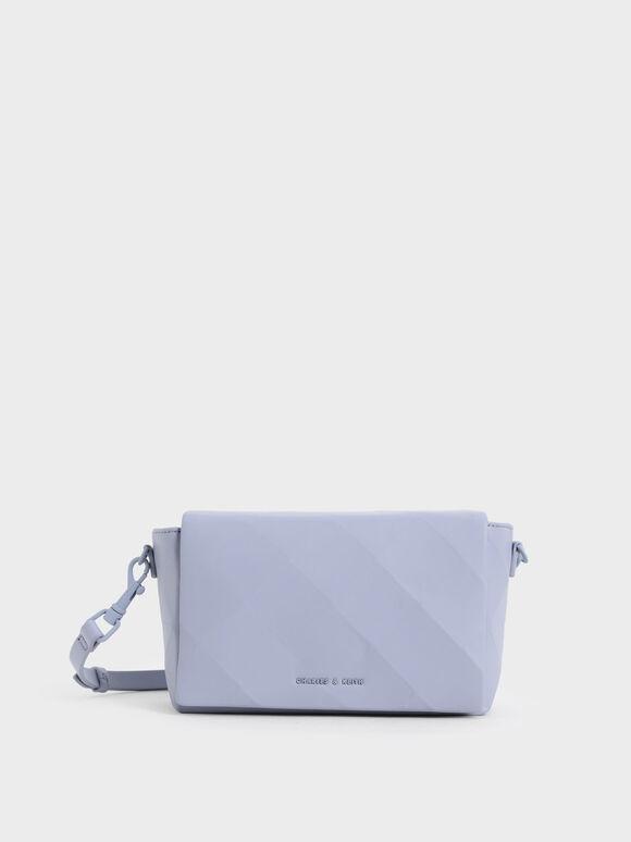 Geometric Crossbody Bag, Light Blue, hi-res