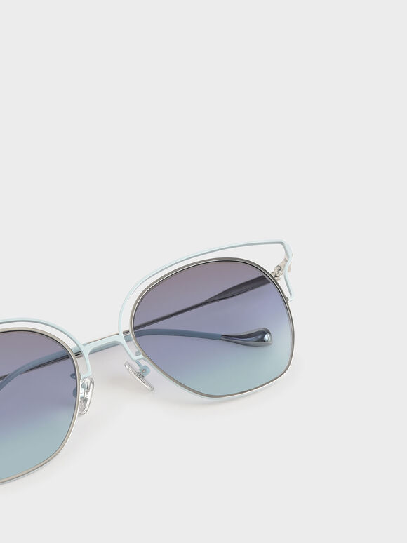 縷空蝴蝶框墨鏡, 藍色, hi-res