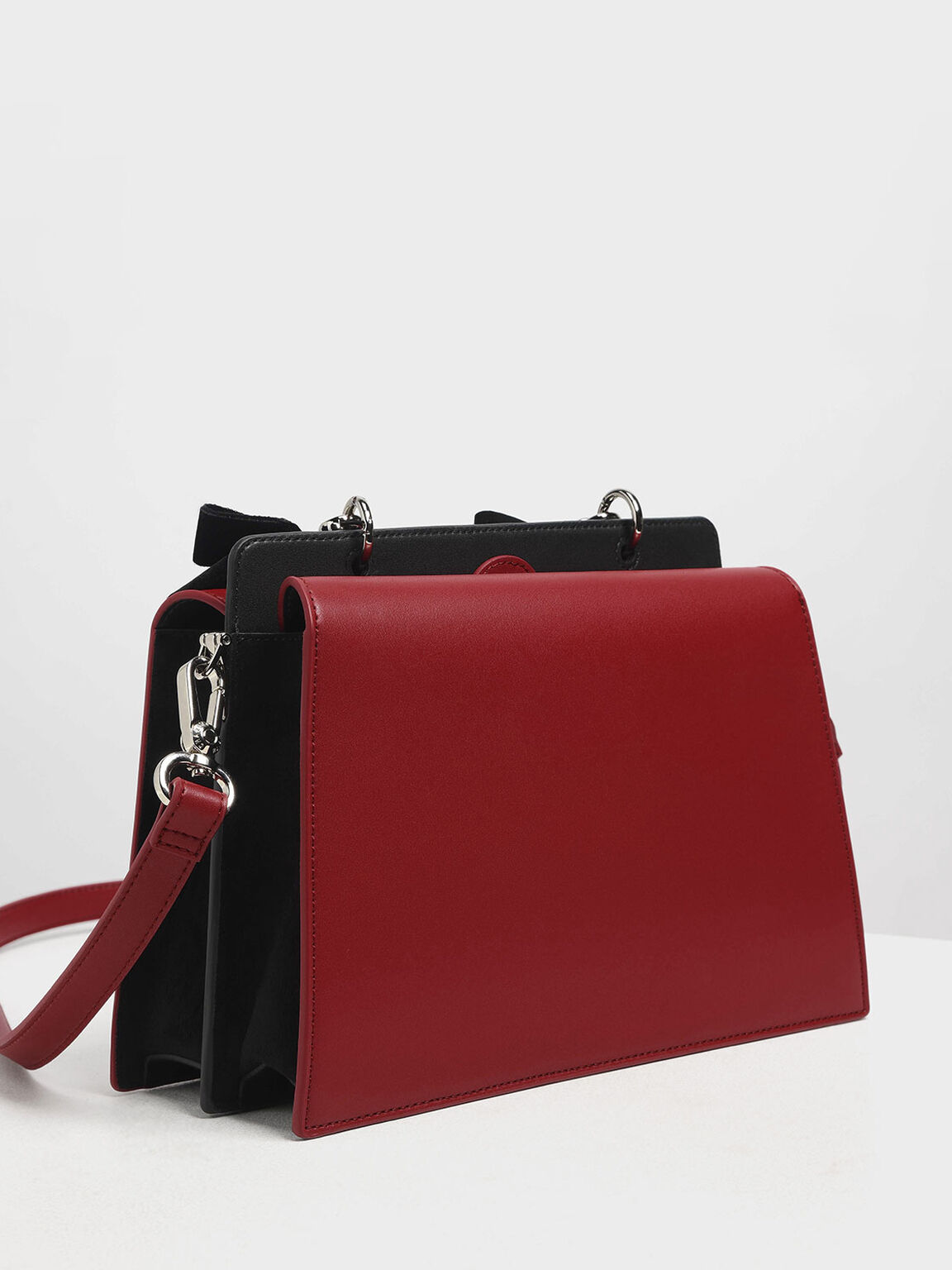 Velvet Bow Detail Top Handle Bag, Red, hi-res