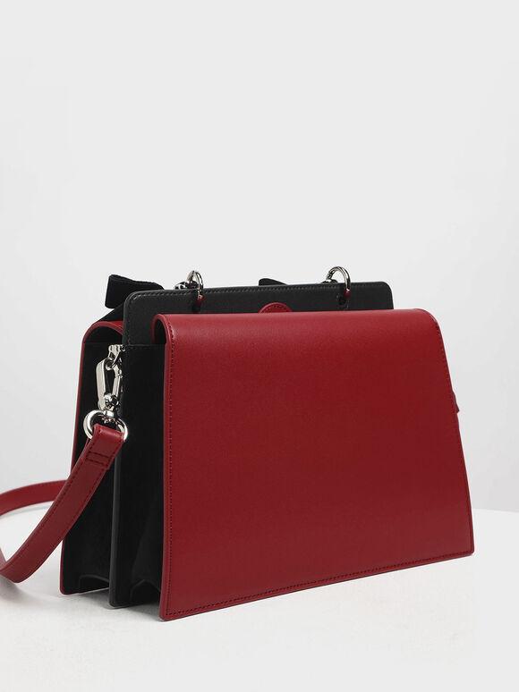Velvet Bow Detail Top Handle Bag, Red, hi-res