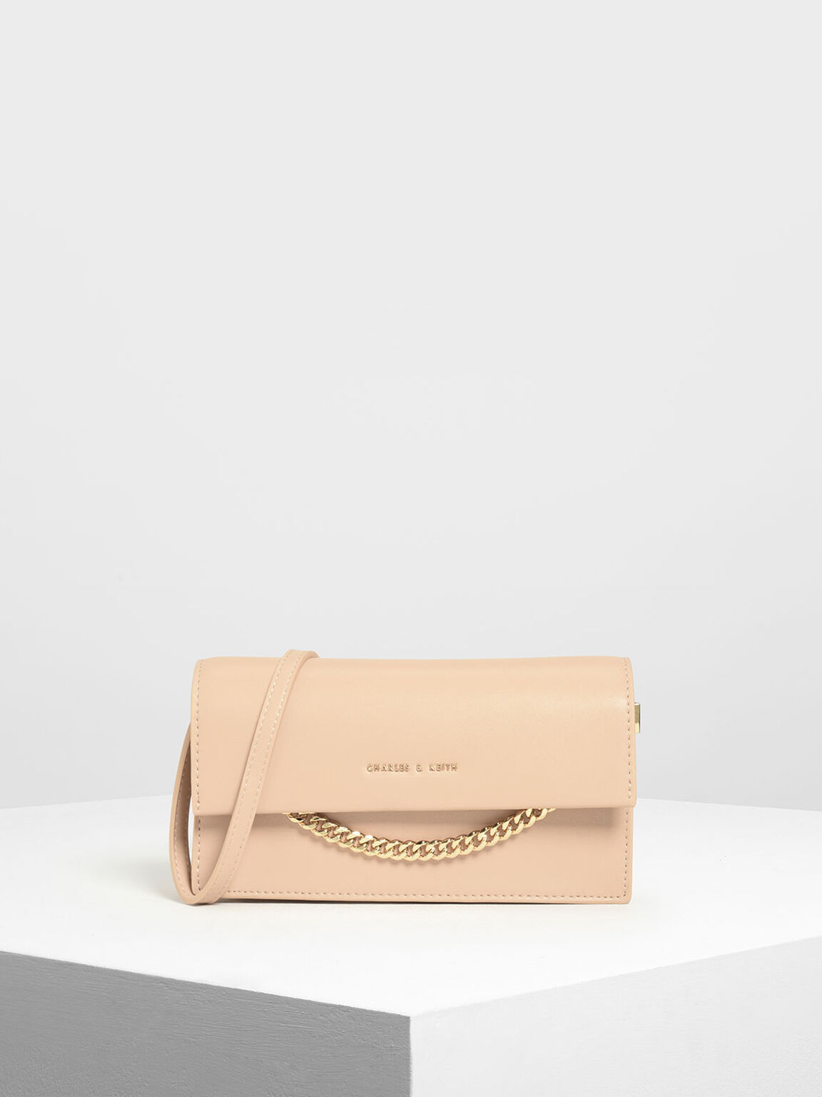 Chain Link Long Wallet, Beige, hi-res