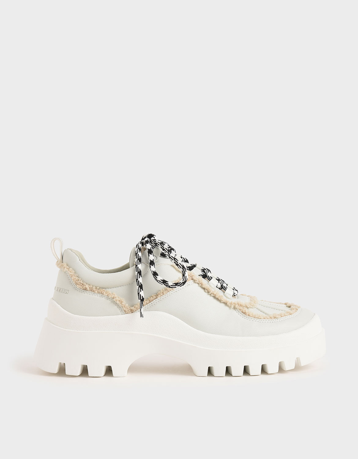 White Microsuede Printed Lace Trainers