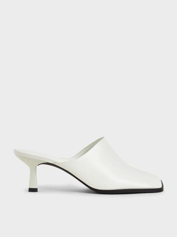 方頭細跟穆勒拖鞋, 白色, hi-res
