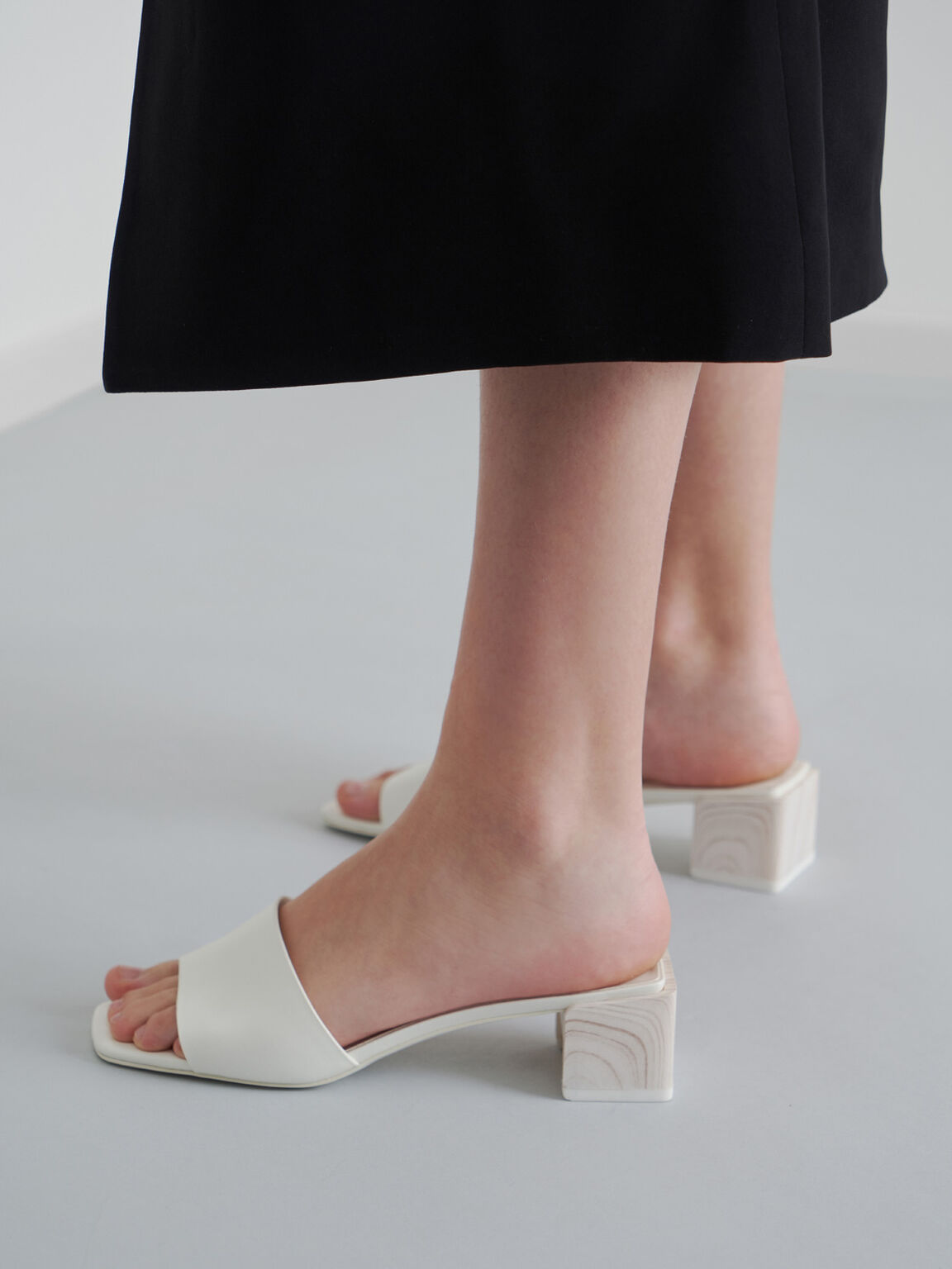 Sculptural Heel Mules, White, hi-res