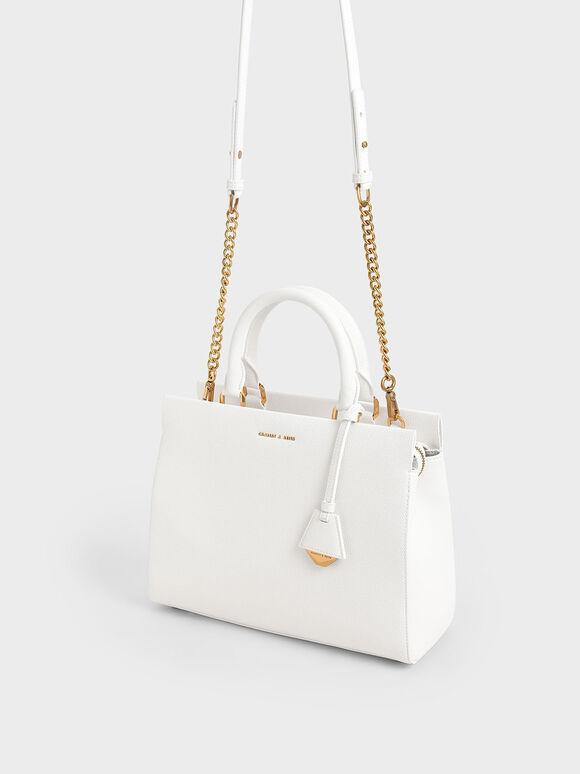 Large Double Handle Bag, White, hi-res