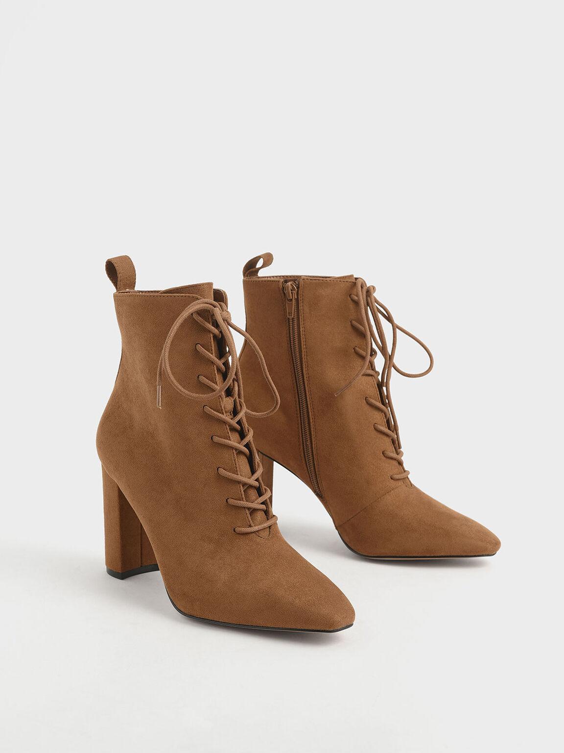 綁帶高跟短靴, 焦糖色, hi-res