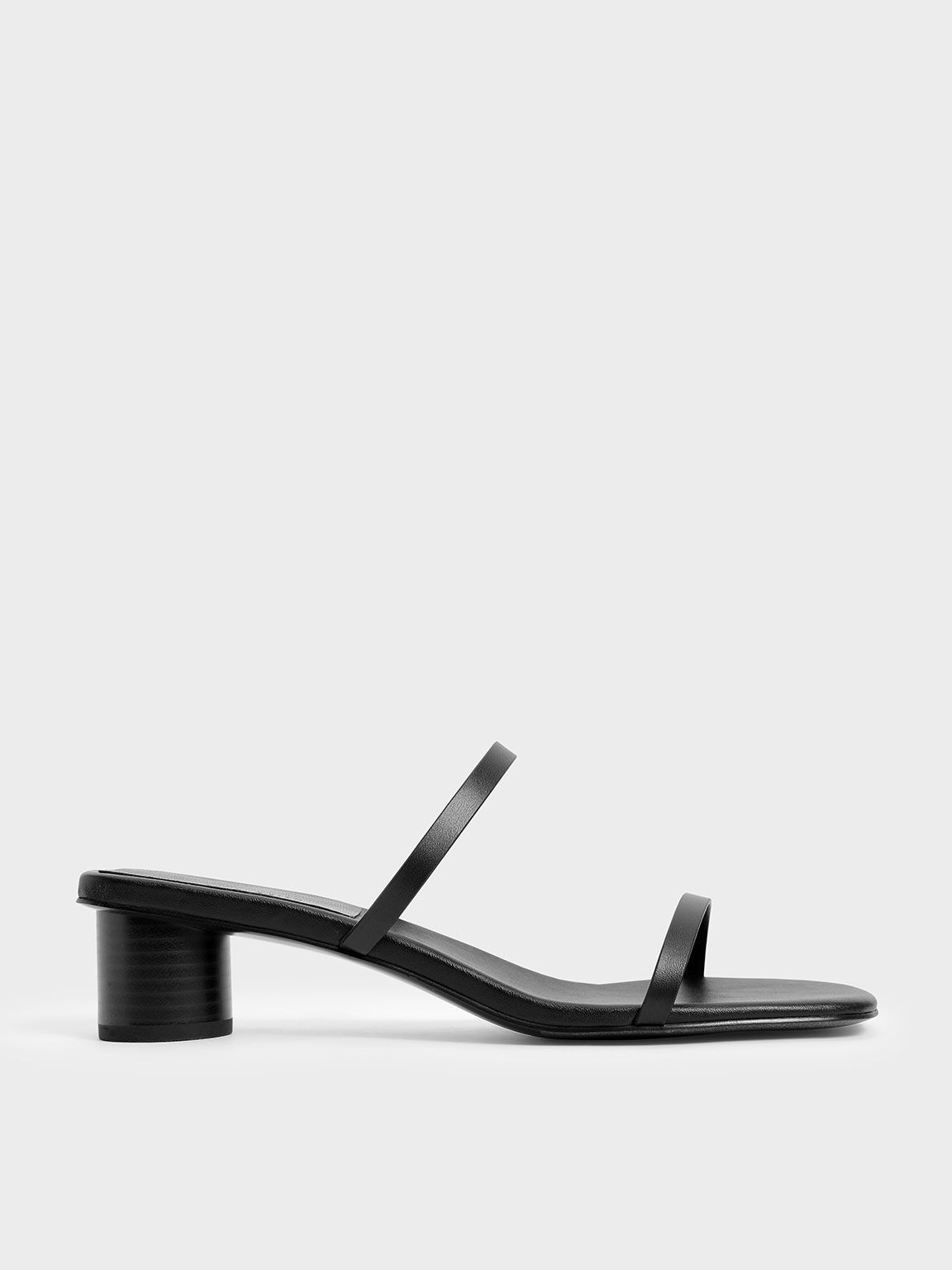 Double Strap Cylindrical Heel Mules, Black, hi-res