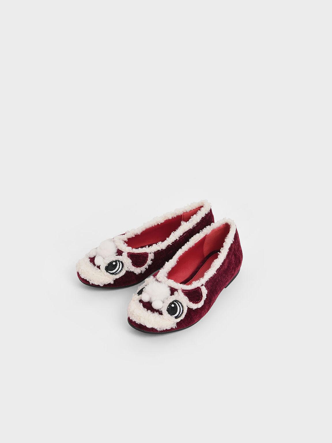 Girls' Little Lion Ballerina Flats, Red, hi-res