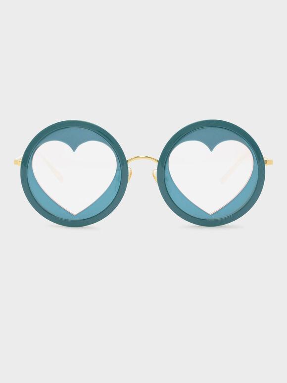 Heart-Shaped Frame Sunglasses, Teal, hi-res
