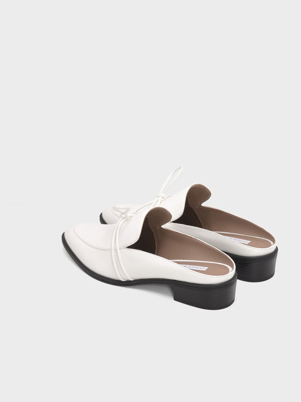 Almond Toe Knot Mules, White, hi-res