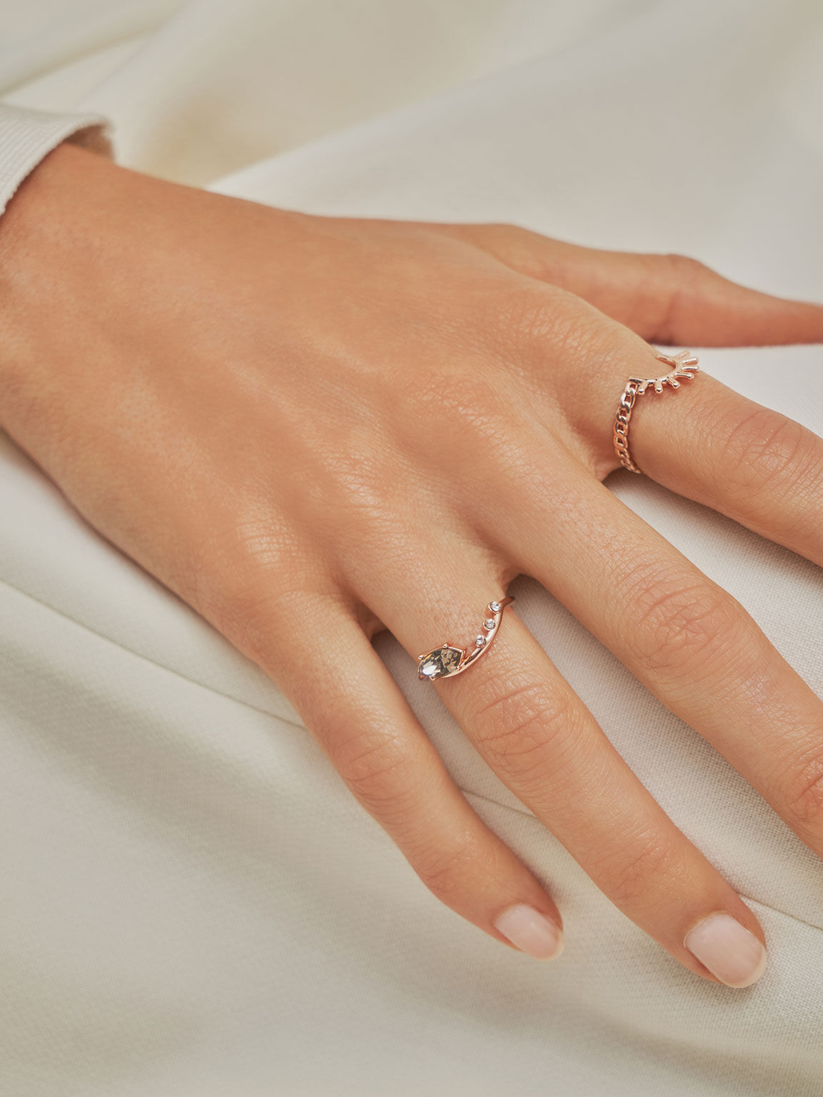 Swarovski® Crystal Geometric Ring, Rose Gold, hi-res
