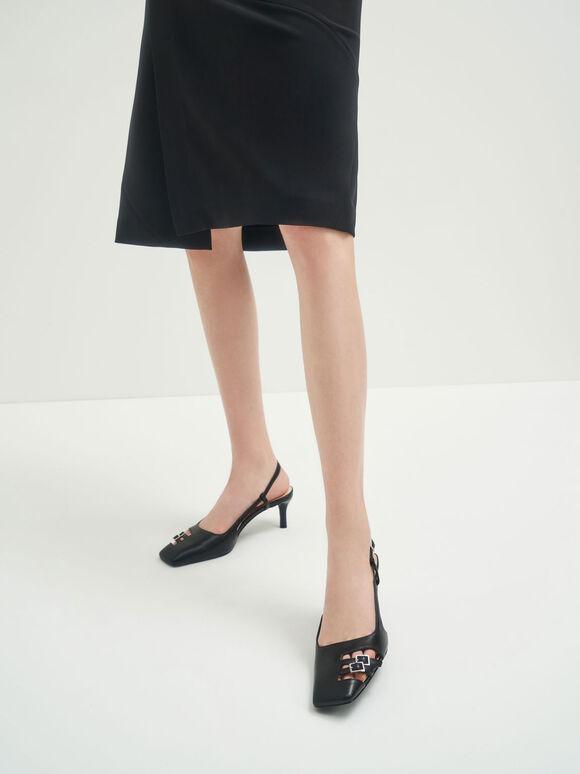 金屬雙釦細跟鞋, 黑色, hi-res