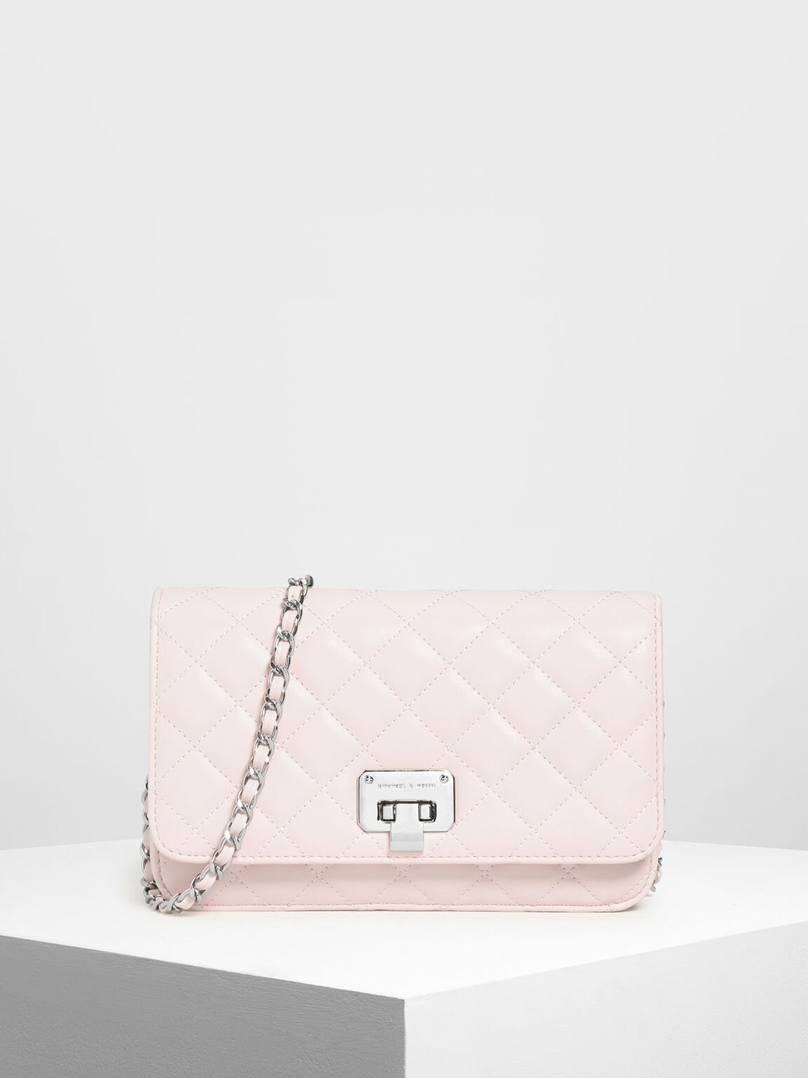Quilted Flip-lock Clutch, Pink, hi-res