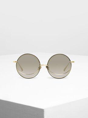 Circle Frame Sunglasses, Silver