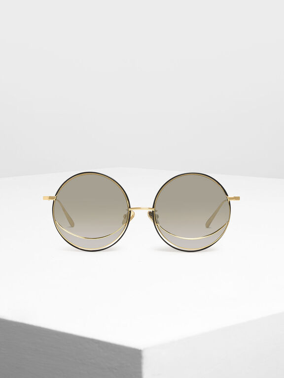 Circle Frame Sunglasses, Silver