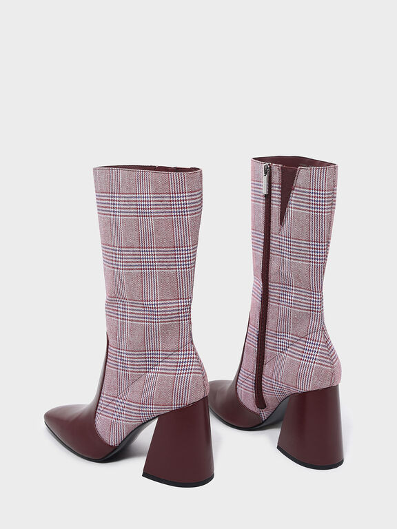 Square Toe Block Heel Boots, Burgundy