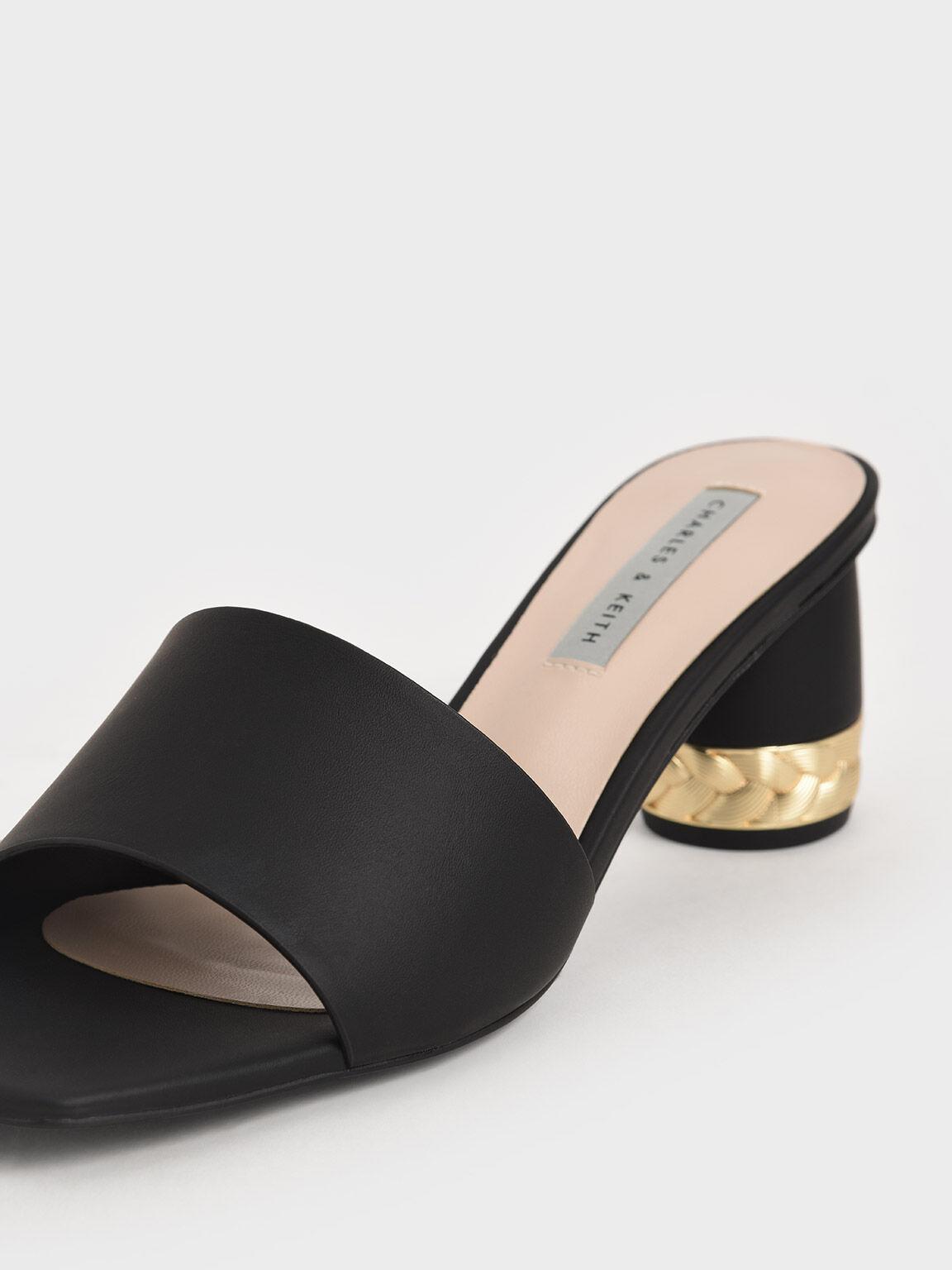 Metallic Accent Mules, Black, hi-res