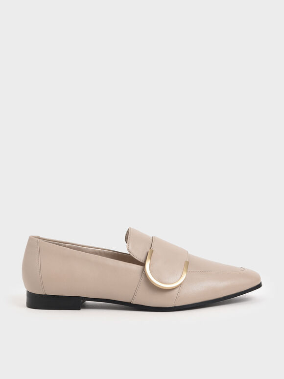Leather Metal Accent Loafers, Nude, hi-res
