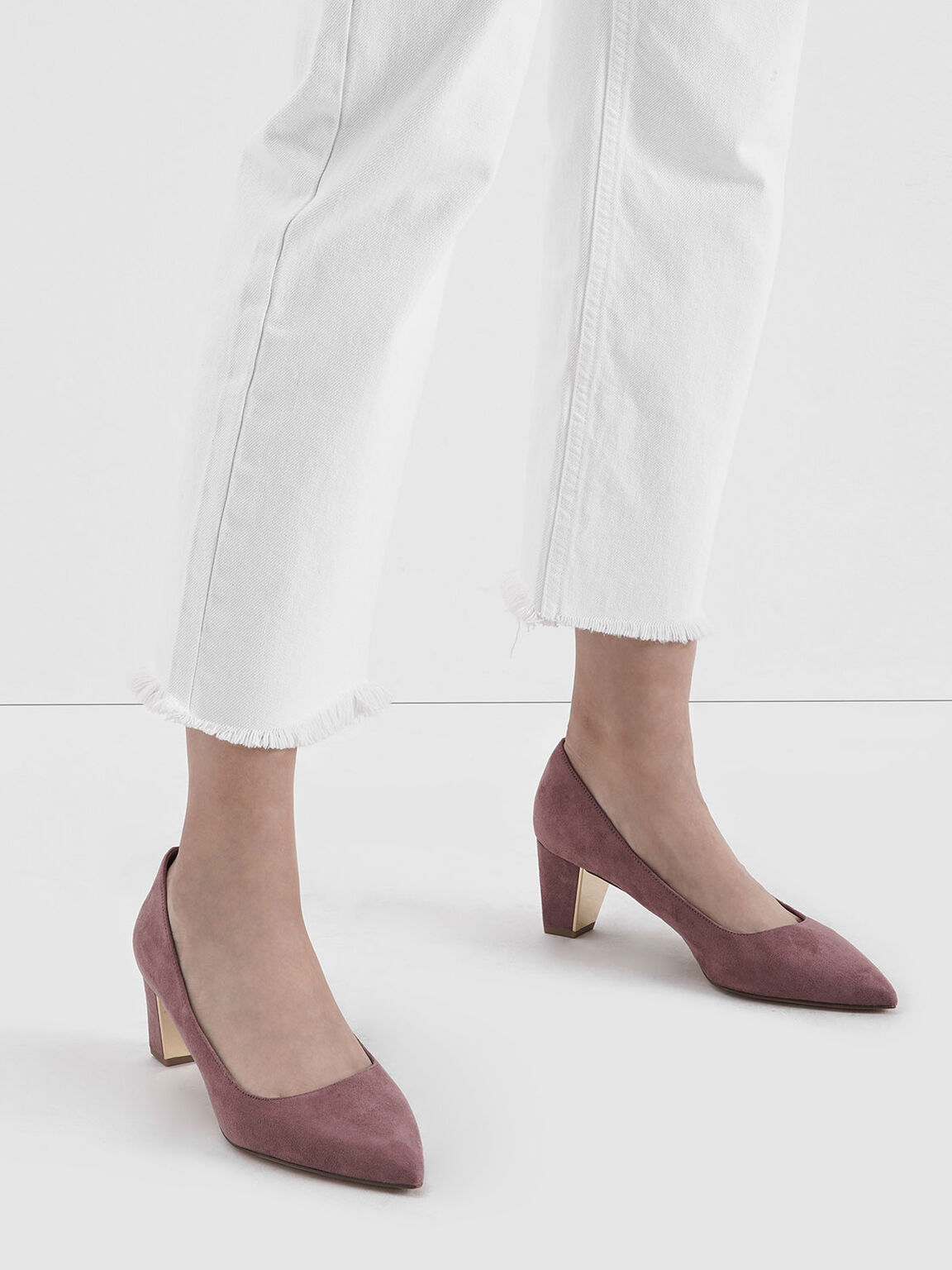 Textured Chunky Heel Pumps, Mauve, hi-res