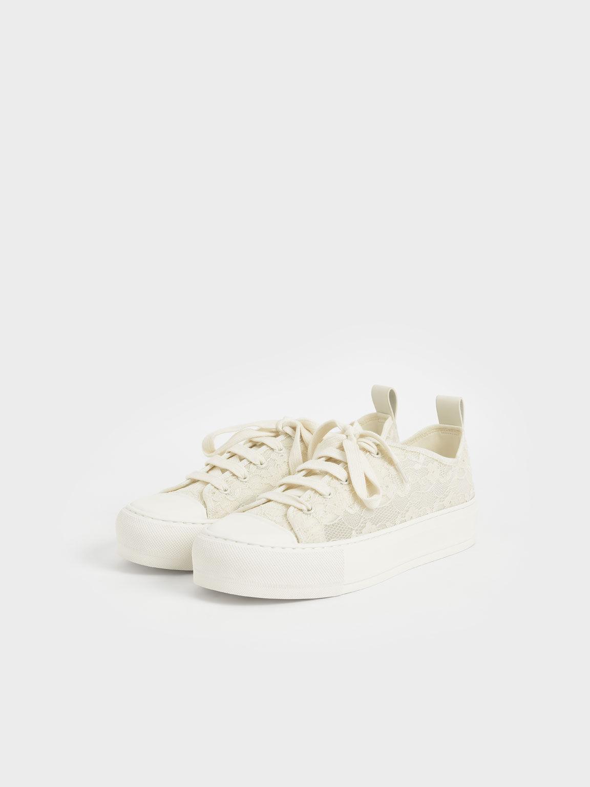 Lace Low-Top Sneakers, Cream, hi-res
