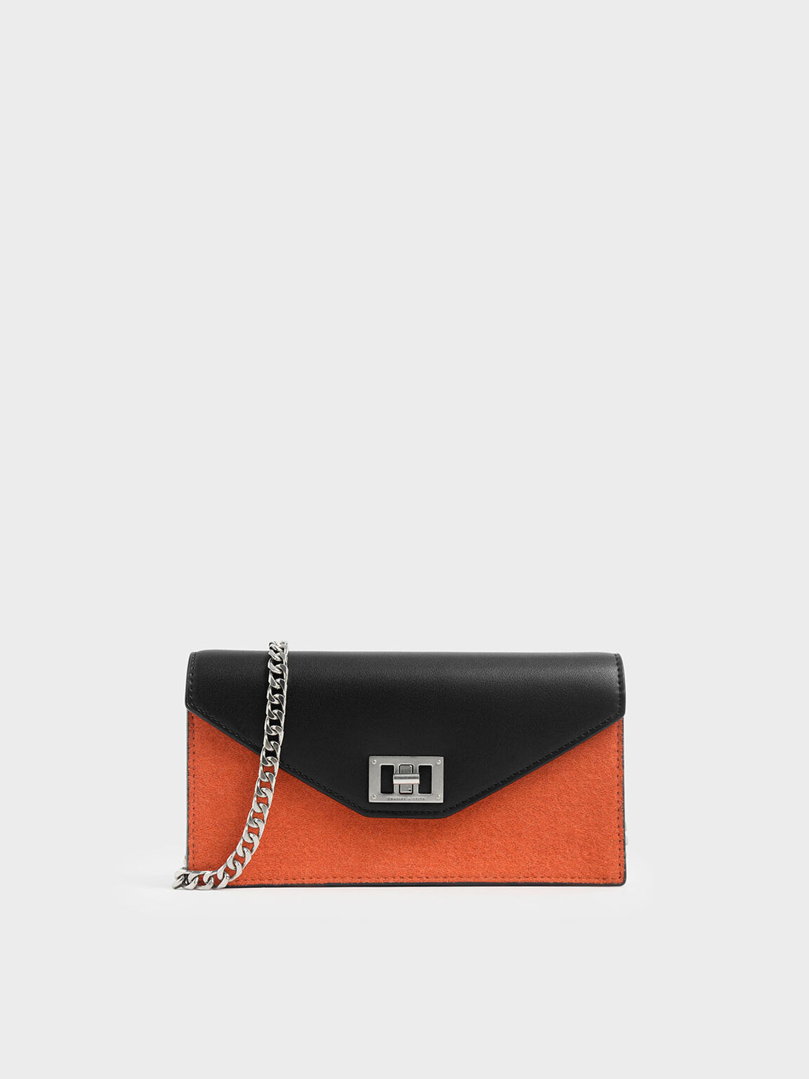Two-Tone Long Envelope Wallet, Orange, hi-res