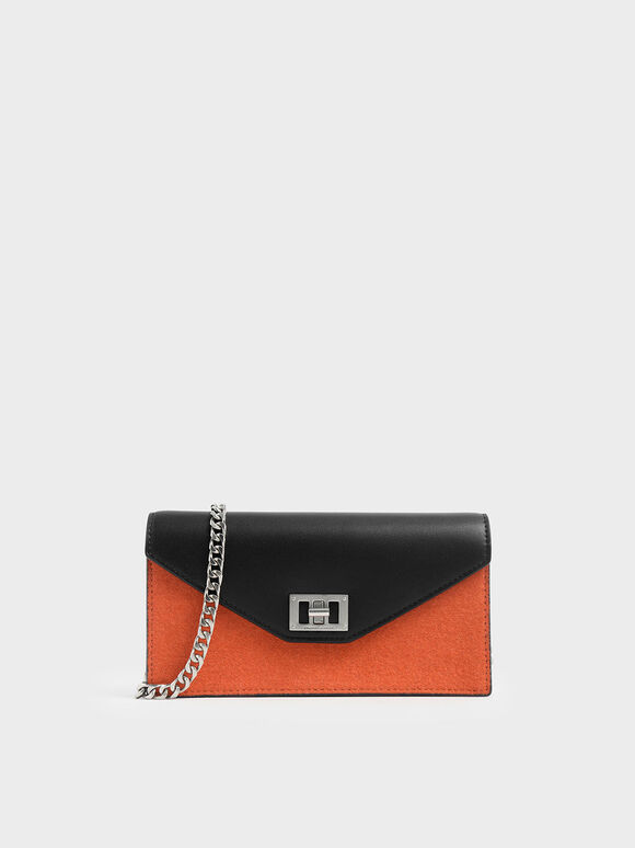 Two-Tone Long Envelope Wallet, Orange, hi-res