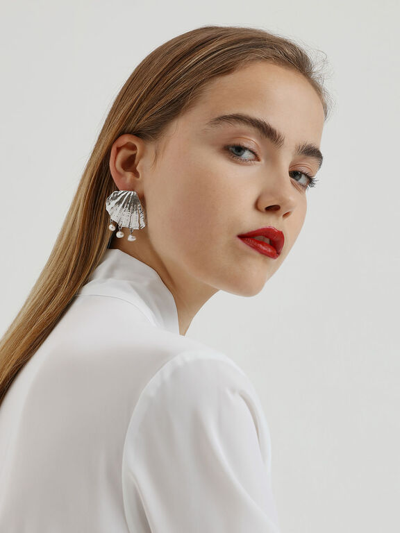 Seashell Stud Earrings, Silver