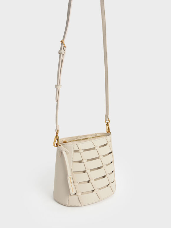 Braided Bucket Bag, Cream, hi-res
