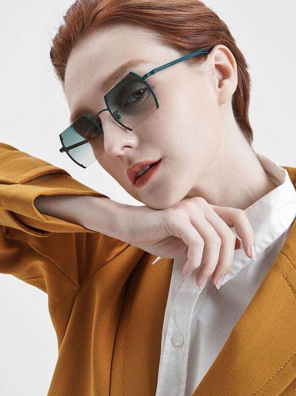 Cut-Off Frame Round Sunglasses, Blue, hi-res