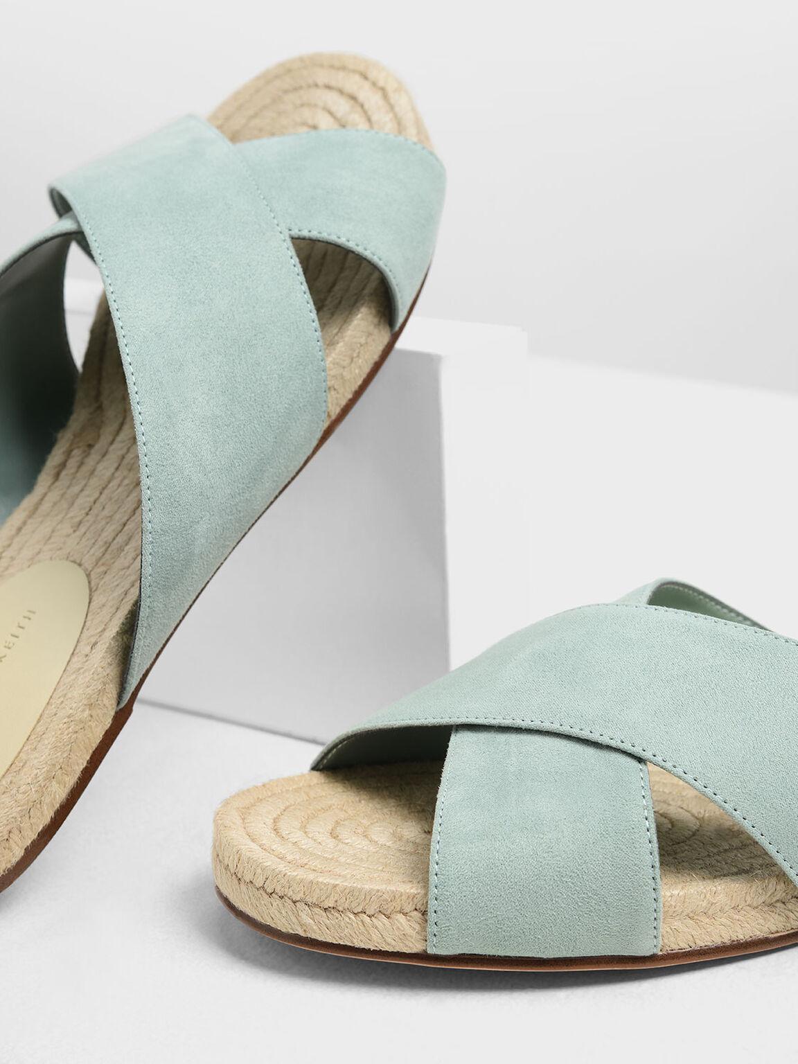 Criss Cross Slide Sandals, Green, hi-res