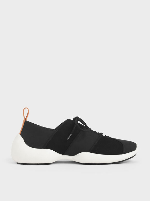 Nylon & Microsuede Lace-Up Sneakers, Black, hi-res