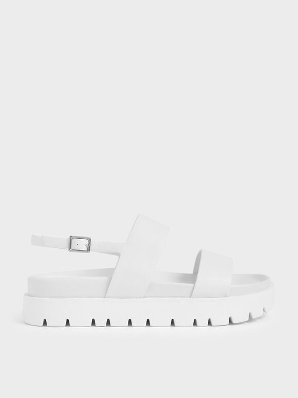 Flatform Sandals, White, hi-res