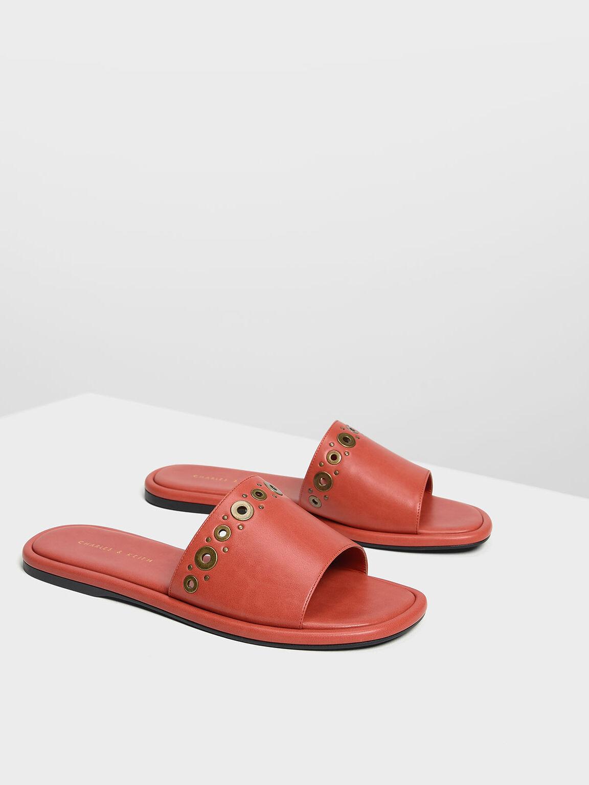Gromet Detail Sliders, Orange, hi-res