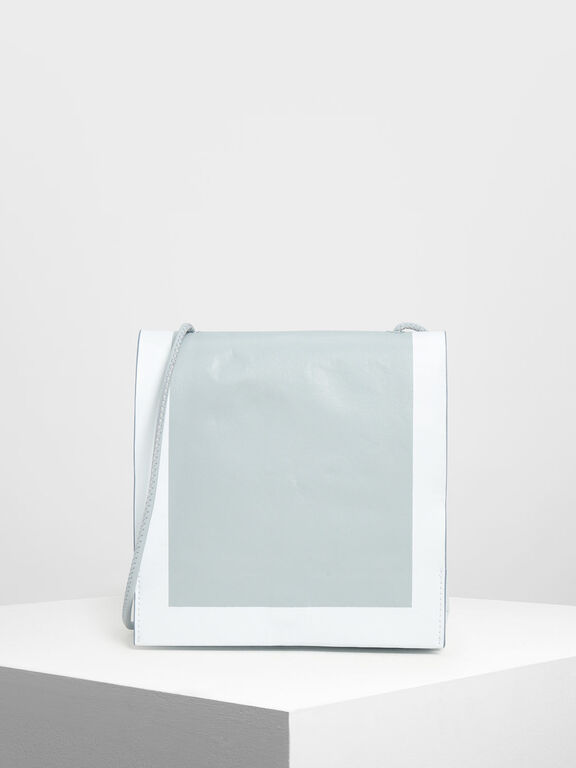 Crumpled Effect Top Handle Bag, Light Blue, hi-res