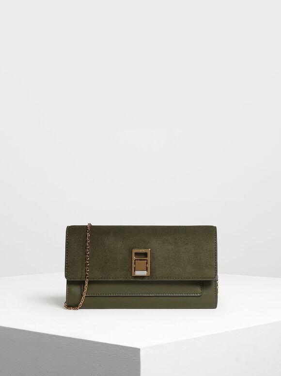 Embellished Push Lock Wallet, Olive, hi-res