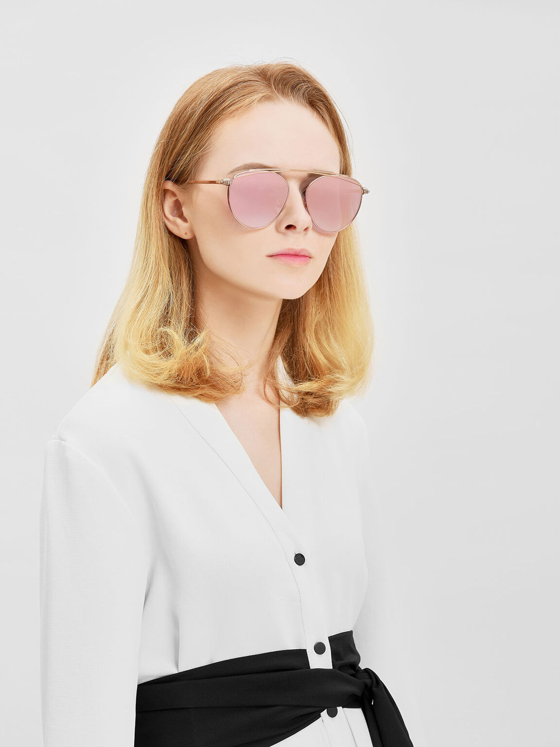 Wire Frame Aviators, Rose Gold, hi-res
