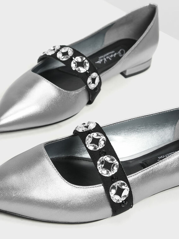Leather Bedazzled Mary Jane Flats, Silver