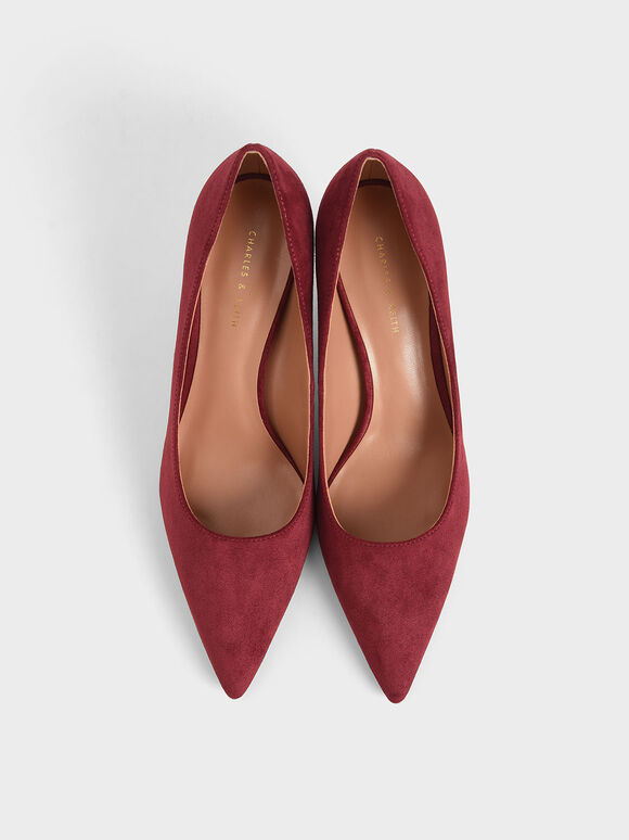 Textured Pointed Toe Pumps, Maroon, hi-res